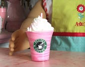 """Doll Drink ~ Fake Strawberry Swirl COFFEE Frappuccino Mini Smoothie 