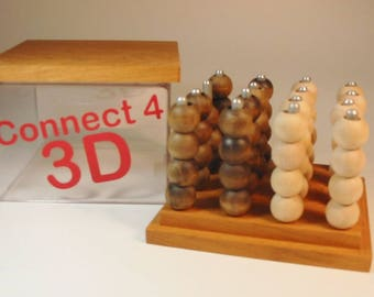 Connect 4 - (3D version) Heirloom-Quality Toy Game - Handcrafted Hardwood