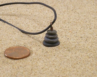 Stacked Pebble Cairn Pendant Necklace with 17 Inch Black Leather Cording, Cairn Jewelry, Natural Stone Pendant, Rock Cairn Necklace, OOAK
