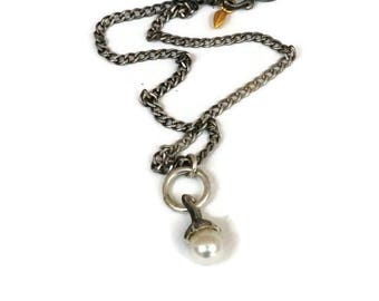 South Sea Pearl Necklace, Oxidized Silver Pearl Pendant, Gumnut  Seed Pod Charm Necklace, Artisan Handmade by Sheri Beryl