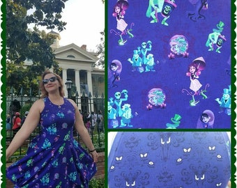Haunted Mansion Character Inspired Sleeveless Swing dress - Disney Haunted Mansion - Hat Box Ghost - Disney Cosplay - Women's dress