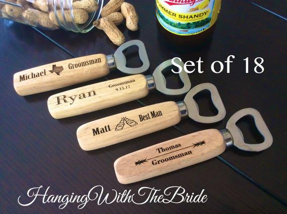 Set of 18 Personalized Bottle Opener, Groomsmen Gift, Wedding Gift, Engraved Wood opener, Custom Bottle Opener, Christmas gifts