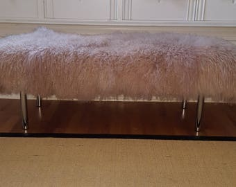 Mongolian Lamb Fur Bench in Blush