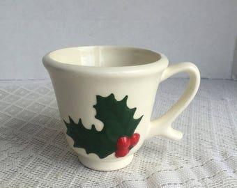 CIJ Ceramic Holly Berry Mug / Vintage Christmas Coffee Cup / White China Teacup
