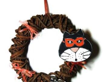 Halloween wreath with black cat - Halloween door wreath - Halloween black cat and orange wreath