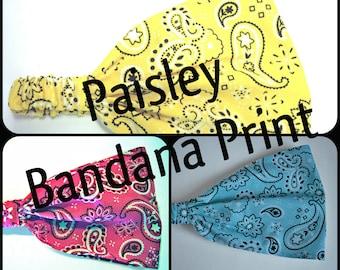 Bright Bandana Paisleys Wide Headband -by FreCkLes GarDeN – Dreadlock Dread Gypsy Band, Yoga Headwrap Doorag Bandana Kitchenwear, Festival