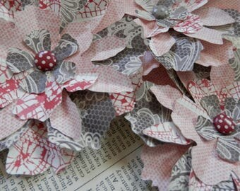 PAPER FLOWERS set/3 Soft Gray Pink Taupe Touch of Red