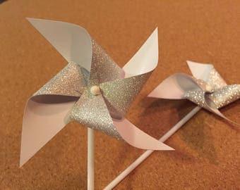 12 Pinwheel cupcake toppers, Glitter pinwheel toppers, Spinning pinwheel birthday cupcake toppers, Mini Paper Pinwheel toppers