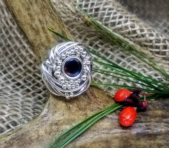 8mm Round Natural Garnet With Beads Solitaire Ring In Argentium And Sterling Silver Size 7.5 ER-0008