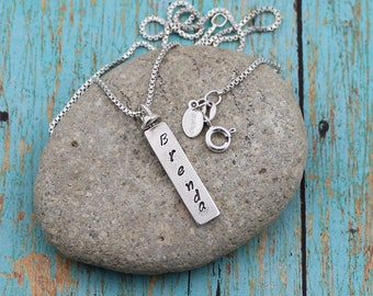 2-Sided, Sterling Silver, Personalized, Vertical Swivel Bar Pendant on a 16 to 36-Inch, Sterling Silver Bead or Box Chain, Layering Chain