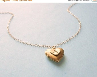 SUMMER SALE Heart Locket 14K Gold Filled Chain Vintage Style Brass Heart Locket Tiny Necklace Womans Delicate Whisper Simple Style Gold Fill