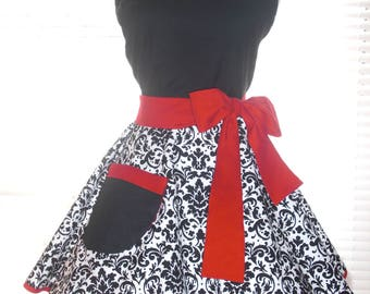 Retro Apron Diner Apron Black and White Damask with Red Accents Extra Wide Circular Flirty Skirt