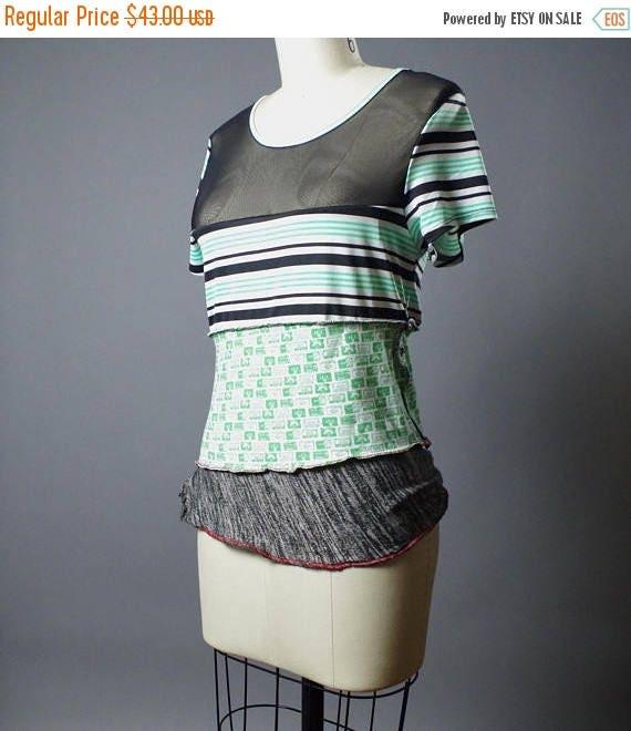 ON SALE Funky Striped Tee - OOAK Top T-shirt - Street wear - Women's tee - Street Fashion - Cassette