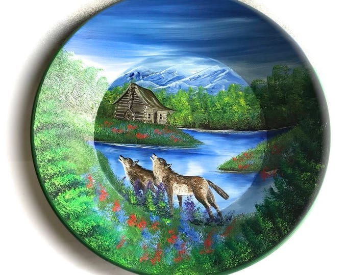 Hand Painted 11 Inch Gold Pans Mountain Summer Cabin and Wolves
