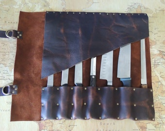 Handmade Brown Distressed Kodiak Leather Knife roll / chef roll / chef bag / tool roll 2