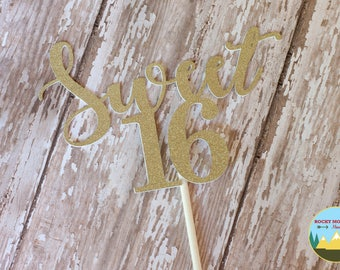 Sweet 16 Cake Topper, Gold Glitter Sweet 16 Cake Topper, Sweet 16 Party Decor