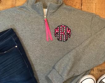 Scallop Circle Monogram 1/4 Zip Sweatshirt - Scallop Monogrammed Quarter Zip Pullover - Monogram Quarter Zip Sweatshirt Pullover