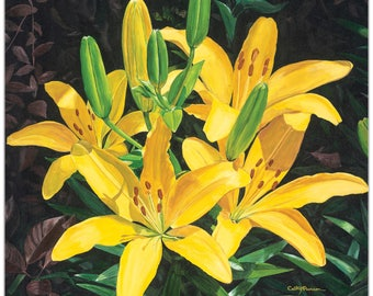 Traditional Wall Art 'Yellow Lilies' by Cathy Pearson - Floral Decor Traditional Lilies Artwork on Metal or Plexiglass