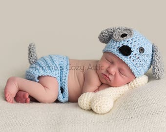 Puppy hat, crochet puppy outfit, newborn boy hat, newborn puppy hat, puppy hat set, newborn photo prop, baby boy hat, baby puppy hat