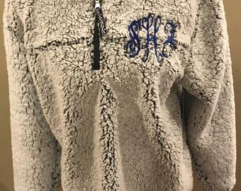 Adult Sherpa pullover, monogrammed sherpa, boxercraft sherpa