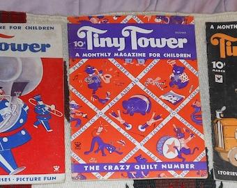 three vintage magazines called tiny tower ca 1930 s