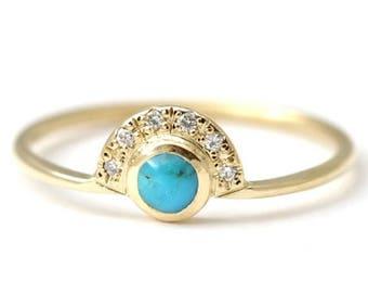 ON SALE Turquoise Engagement Ring, Alternative Engagement Ring, Turquoise Diamond Ring, Gold Turquoise Ring, Natural Round Turquoise Ring