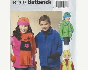ON SALE Girls/Boys Jacket, Vest, Hat, Scarf & Mittens, Butterick 4595, Size 7-10, UNCUT