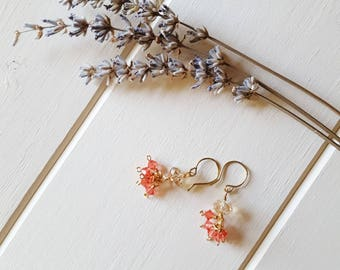 Esther - Pink & Gold Crystal Earrings, Ready to Ship