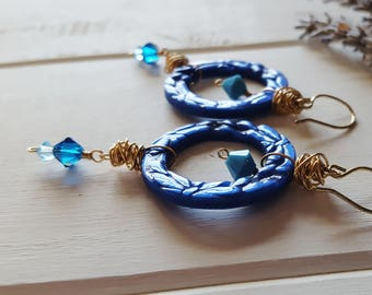Amy - Royal Blue Polymer Clay Hoop Earrings - Turquoise Blue Flowers