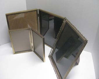 Picture Frames, Vintage Set of 3 Gold Metal Picture Frames, Double Frames