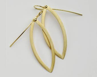 Long Gold Dangle Earrings, Tribal Earrings, Large Boho Dangles Marquise Earrings, Simple Geometric Earrings, 18k Solid Gold Earrings for Her