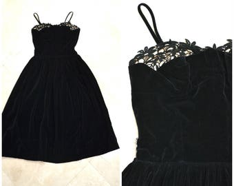 1950s Prom Dress Black Velvet 50s Party Dress Small Lace and Black Velvet