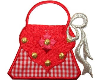 ID 7992 Red Checkered Handbag Patch Purse Fashion Embroidered Iron On Applique