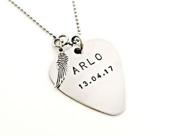 Father of an Angel Necklace - Hand Stamped Guitar Pick with Sterling Silver Wing - Daddy Necklace- Remembrance, Memorial, Loss, Jewelry Gift