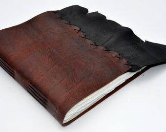 "Handmade Leather Journal 9 1/2"" x 9 1/2"" - 140 lb watercolor paper - Sketchbook"