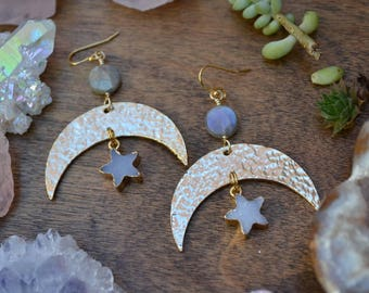 RESERVED !!! Gold filled MOON & STAR Natural Druzy earrings // bohemian // luxe