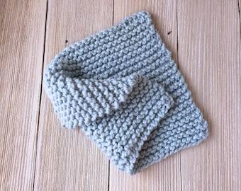 Hand Knit Basket Stuffer Mini Baby Blanket in Light Blue, Newborn Photo Prop, Ready to Ship