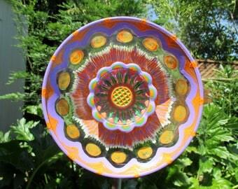 Old World Style Glass Plate Flower Garden Art - Hand Painted - Garden Decor - Outdoor Garden Decorations, Yard Art Garden, Glass Flower