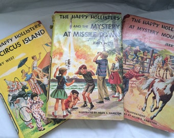 Happy Hollisters J. West Book Lot of 3 first edition HC with DJ vgc Missle Town, Circus Island, Mystery Mountain