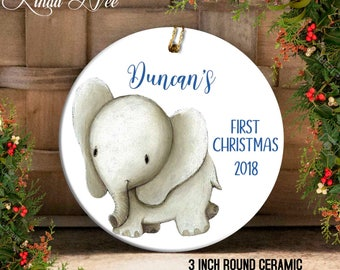 Baby's first christmas ornament elephant | Etsy