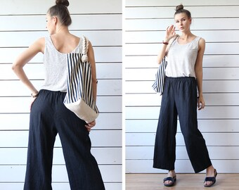 Finnish vintage black thick linen relaxed fit elastic waist wide leg pants trousers S-M
