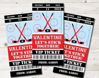 Hockey Valentine Cards kids, children hockey valentine cards, school valentines, boy hockey cards, valentines day, Printable PDF