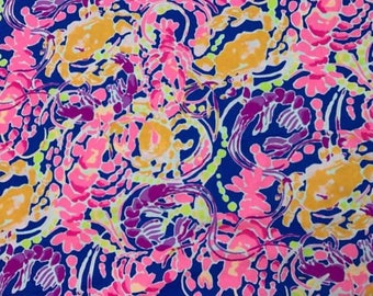 Cotton twill  Catch and Release 6 X 6,  9 X 18 inches or 18 X 18 inches ~ Lilly Pulitzer~