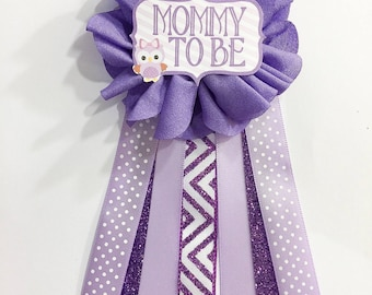 Purple Owl Baby Shower Pin Mommy To Be Pin Flower Ribbon Pin Corsage Glitter Mommy mama mom to be baby shower chevron