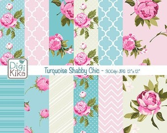 Pink and Turquoise Shabby Chic Digital Papers, Shabby Chic Scrapbook Papers - card design, invitations, background - INSTANT DOWNLOAD