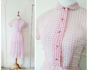 20% OFF / Jewels in the Sky 1950s Sheer White & Fuschia Nylon Star/Atomic/Asterisk Novelty Print Dress with Rhinestone Button Detail