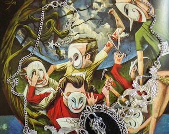 "Gothic silver felt Boho Chic steampunk ""SkullBird"" cabochon necklace"