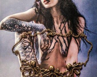 Bronze three Octopus steampunk necklace