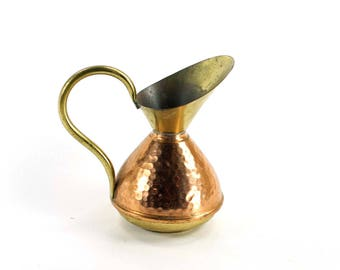 Vintage Hammered Copper and Brass Pitcher Small