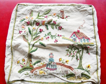 Vintage Victorian 1950s Linen Cotton Embroidered Pillow Cover Country Farmhouse Hand Made Art French Farmhouse Edwardian Cottage Decor